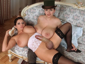 big tit futanari sluts in a hat