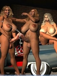 three anime futa ladies posing naked at car