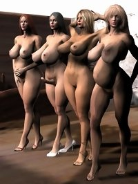 two futanari dickgirls and two ordinary babes posing naked